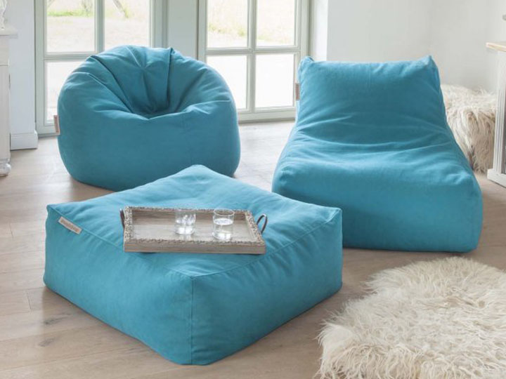 Pushbag Sitzsack und Lounge Set Chair Easy blau