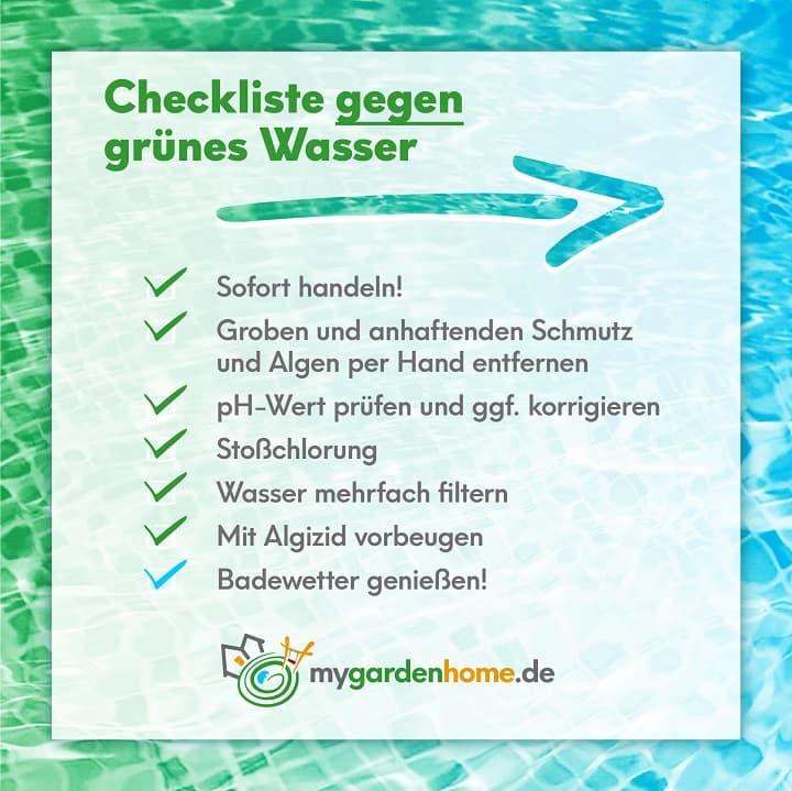 Checkliste gegen grünes Wasser