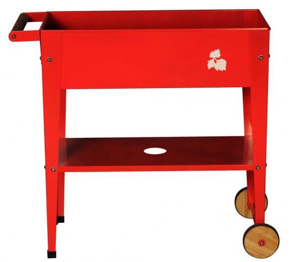 Herstera Garden Hochbeet Kräuterfabrik Rot inkl. Holzrädern und Abstellfläche