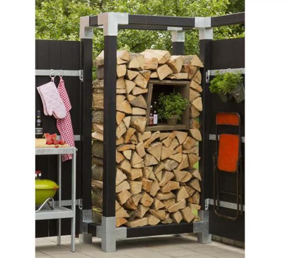 Plus Kaminholzregal Brennholzwand 206 cm natur
