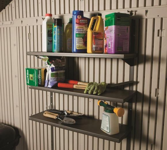 Lifetime 3-fach Regal  für Gerätehäuser aus Kunststoff