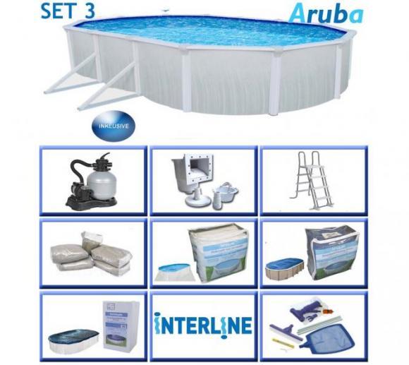 Interline Schwimmbad Aruba Premium-Set 610x360 cm 8tl.