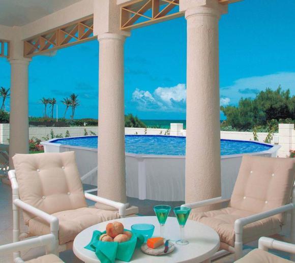 Interline Schwimmbad Pool u. Schwimmbecken Aruba 490x360 cm inkl. 5 teiliges Zubehörpaket und Winterabdeckung