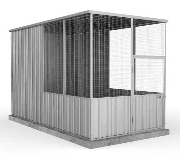 Absco Hühnerstall, Metallgerätehaus silber-metallic, 152x300 cm