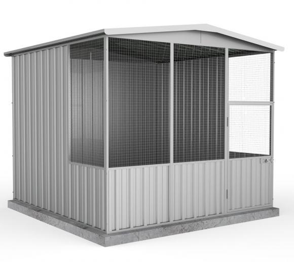 Absco Hühnerstall, Metallgerätehaus silber-metallic, 226x226 cm