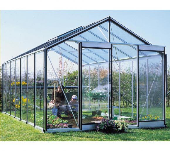 ACD Aluminium Glas Gewächshaus R405H SCHWARZ, 14,09m²