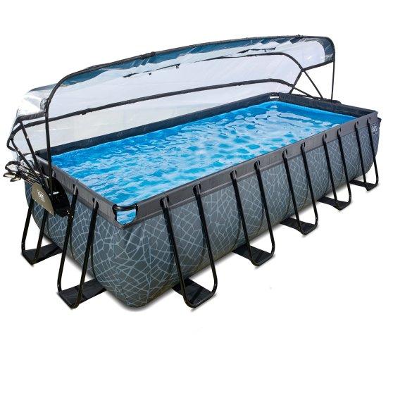 EXIT Frame Swimming-Pool inkl. Überdachung Stone, 540x250 cm