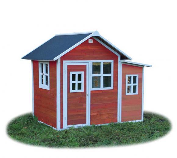 EXIT Kinderspielhaus Loft 150 Rot inkl. Anbau und Fenstern