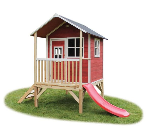 EXIT Kinderspielhaus Loft 300 Rotbraun inkl. Veranda & Rutsche
