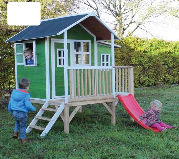 EXIT Kinderspielhaus Loft 350 Grün inkl. Anbau und Veranda