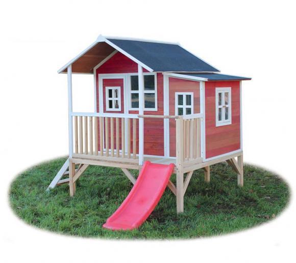 EXIT Kinderspielhaus Loft 350 Rot inkl. Anbau und Veranda
