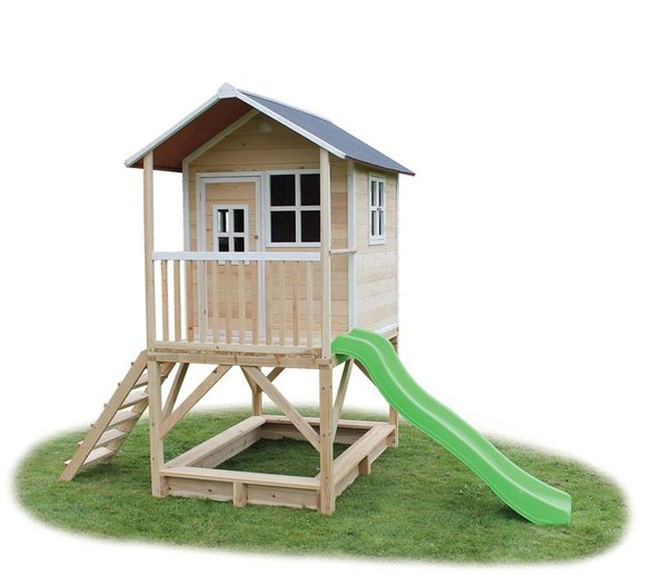 EXIT Kinderspielhaus Loft 500 Natur inkl. Veranda & Rutsche