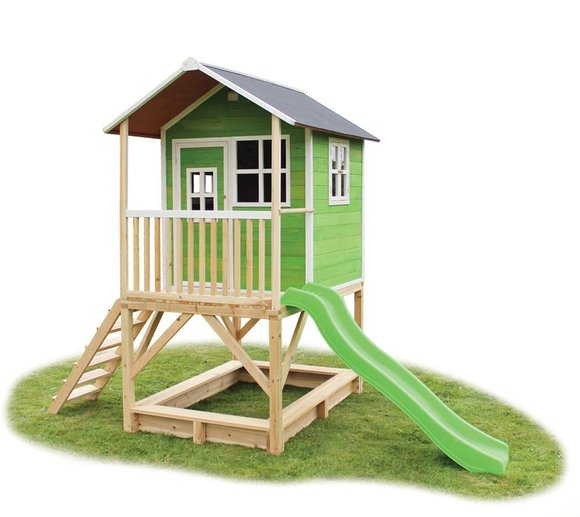 EXIT Kinderspielhaus Loft 500 Grün inkl. Veranda & Rutsche
