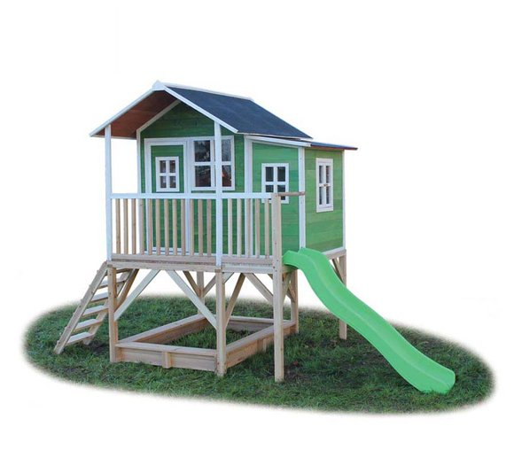 EXIT Kinderspielhaus Loft 550 Grün inkl. Anbau und Veranda
