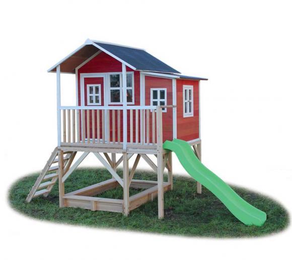EXIT Kinderspielhaus Loft 550 Rot inkl. Anbau und Veranda