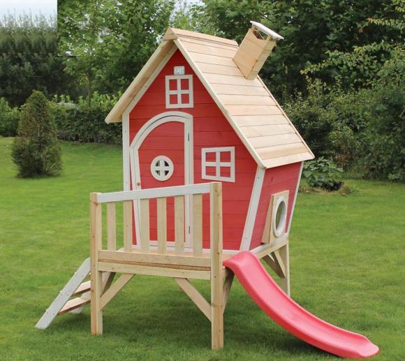 EXIT Kinderspielhaus Fantasia 300 Rot inkl. Veranda & Rutsche