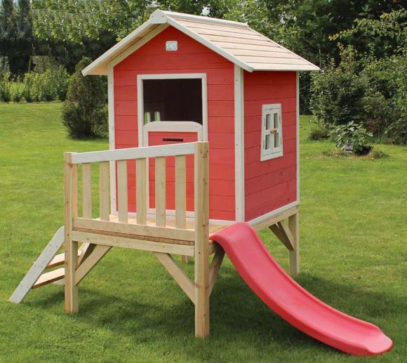 EXIT Kinderspielhaus Beach 300 Rot inkl. Veranda & Rutsche