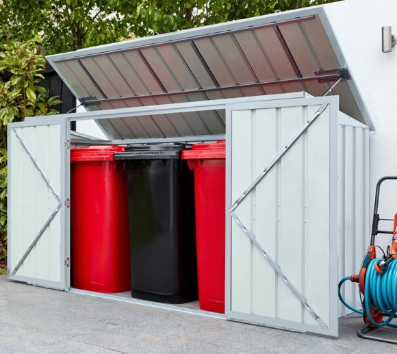 Globel Industries Gerätebox und Mülltonnenbox silber metallic, 236x101 cm