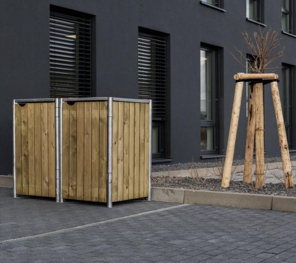 Hide Mülltonnenbox, Mülltonnenverkleidung, für 2 Mülltonnen 240l Volumen Natur