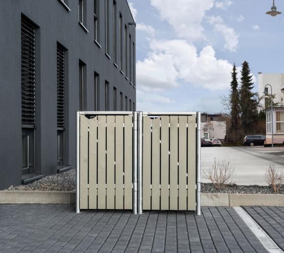 Hide Mülltonnenbox, Mülltonnenverkleidung natur grau; Für 2 Mülltonnen 140l Volumen