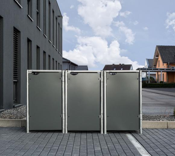Hide Mülltonnenbox, Mülltonnenverkleidung grau; Für 3 Mülltonnen 140l Volumen