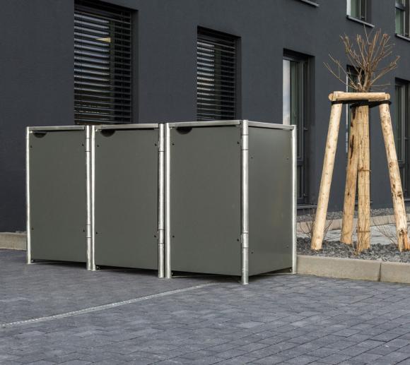 Hide Mülltonnenbox, Mülltonnenverkleidung; Für 3 Mülltonnen 140 l Volumen; Grau