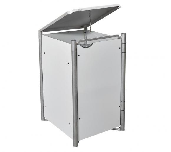 Hide Mülltonnenbox, Mülltonnenverkleidung weiß; Für 3 Mülltonnen 140 l Volumen
