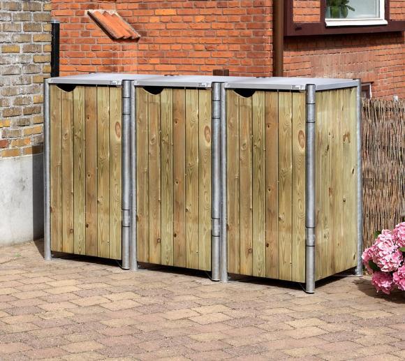 Hide Mülltonnenbox, Mülltonnenverkleidung natur; Für 3 Mülltonnen 140l Volumen
