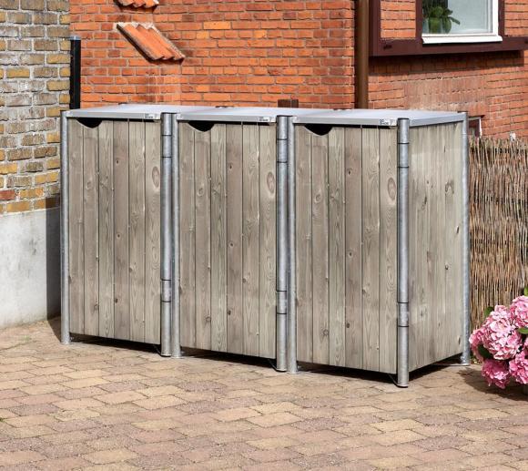Hide Mülltonnenbox, Mülltonnenverkleidung natur grau; Für 3 Mülltonnen 140l Volumen
