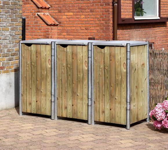 Hide Mülltonnenbox, Mülltonnenverkleidung natur; Für 3 Mülltonnen 240l Volumen