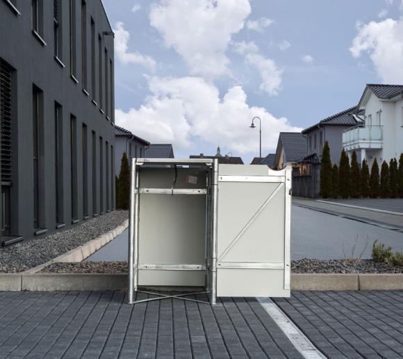 Hide Mülltonnenbox, Mülltonnenverkleidung weiß; Für 1 Mülltonne 140 l Volumen