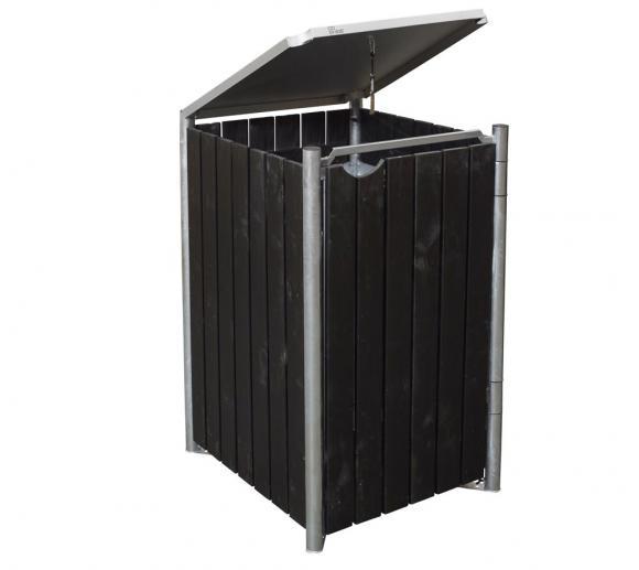 Hide Mülltonnenbox, Mülltonnenverkleidung natur schwarz; Für 1 Mülltonne 240 l Volumen