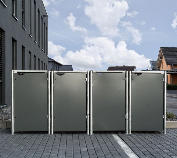 Hide Mülltonnenbox Mülltonnenverkleidung für 4 Mülltonnen 240l Volumen Grau