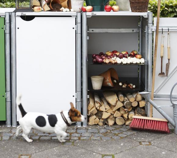 Hide 3-fach Regal und Regalsystem für Müllboxen 240l Volumen