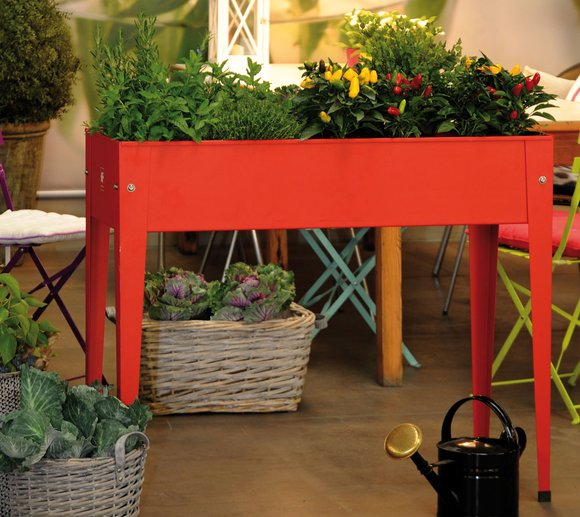 Herstera Garden Hochbeet 95x35x80 cm Rot inkl. spezieller Bodenplatte
