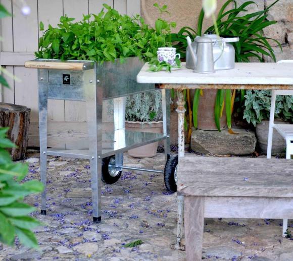 Herstera Garden Hochbeet Urban Kräuterfabrik Silber inkl. Rädern und Abstellfläche