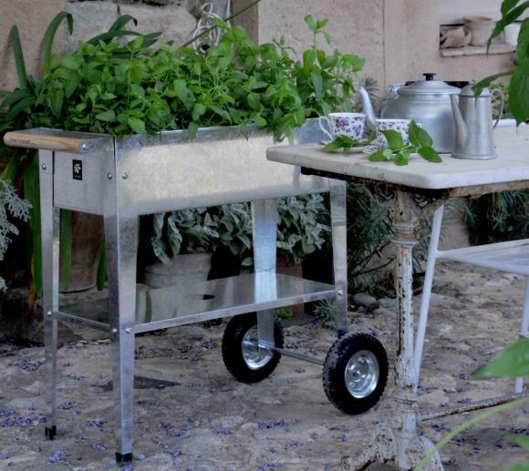 Herstera Garden Hochbeet Kräuterfabrik Silber inkl. Rädern und Abstellfläche