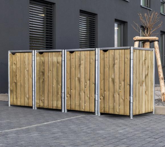 Hide Mülltonnenbox, Mülltonnenverkleidung für 4 Mülltonnen 240l Volumen natur