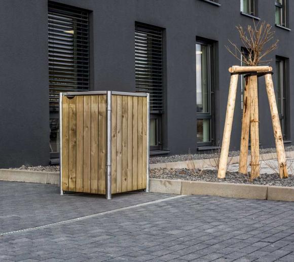 Hide Mülltonnenbox, Mülltonnenverkleidung natur; Für 1 Mülltonne 140l Volumen