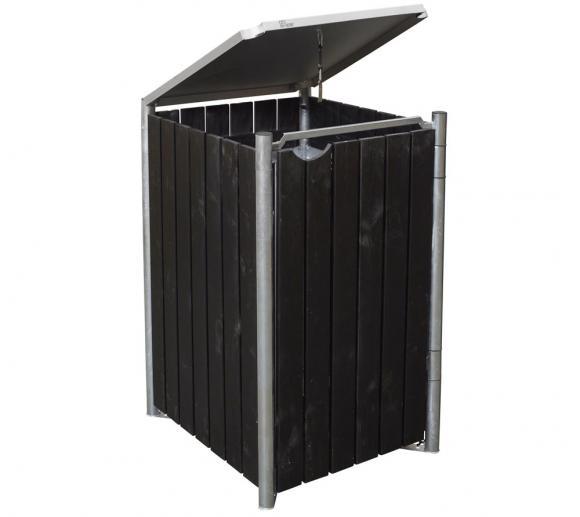 Hide Mülltonnenbox, Mülltonnenverkleidung natur schwarz; Für 1 Mülltonne 140l Volumen