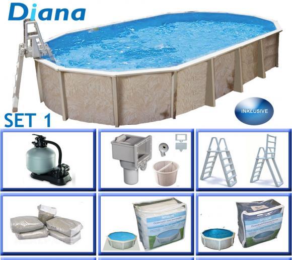 Interline Schwimmbad Pool u. Schwimmbecken Diana 610x360 cm