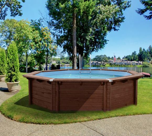 Interline Schwimmbad Bali Holzpool Ø355x116 cm Set 1 inkl. Sommerabdeckung