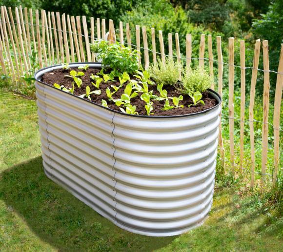 Westmann Metall Hochbeet Gartenbeet Grow Faster silber 160x80x82 cm