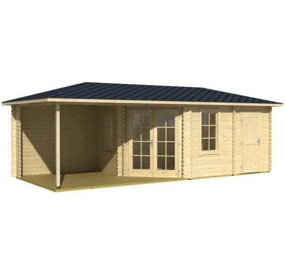 Lasita Maja Gartenhaus Aruba 3B Holzhaus 4x8 m 40mm Natur