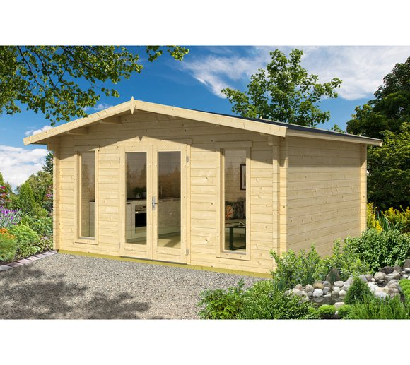 Lasita Maja Gartenhaus Elgin 70 Holzhaus 4x5m 70mm Natur