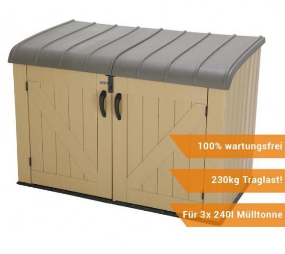 Lifetime XXL Kunststoff Mülltonnenbox, Gerätebox, Aufbewahrungsbox Braun