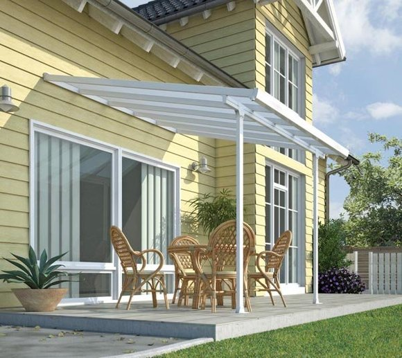Palram Terrassendach, Terrassenüberdachung 300x425 weiß inkl. Regenrinnen und Befestigungskit