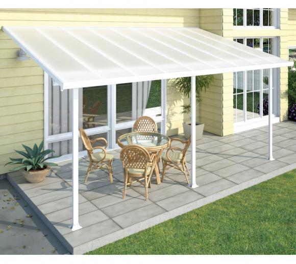 Palram Terrassendach 300x610 weiß; milchige Verglasung; inkl. Regenrinnen und Befestigungskit