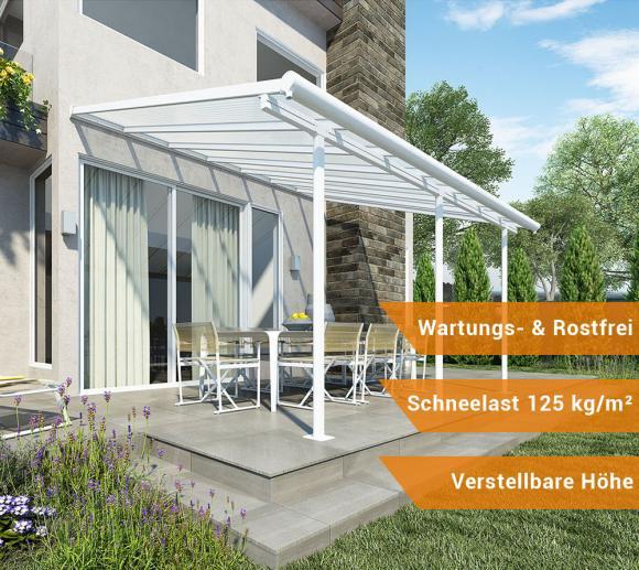 Palram Terrassendach, Terrassenüberdachung Sierra 299x555 cm weiß inkl. Regenrinnen und Befestigungskit