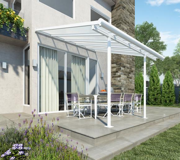 Palram Terrassendach, Balkondach Sierra 230x230 cm weiß inkl. Regenrinnen und Befestigungskit